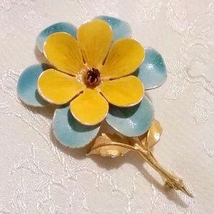Vintage ACCESSOCRAFT Enamel Flower Brooch